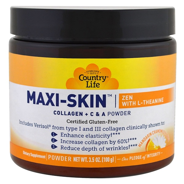 Country Life, Maxi-Skin Zen With L-Theanine, Mandarin Chamomile Flavor, Powder, 3.5 oz (100 g)