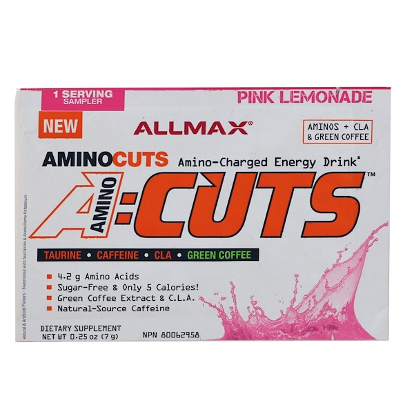 ALLMAX Nutrition, AMINOCUTS (ACUTS), Weight-Loss BCAA (CLA + Taurine + Green Coffee), Pink Lemonade, Trial Size, 0.25 oz (7 g)