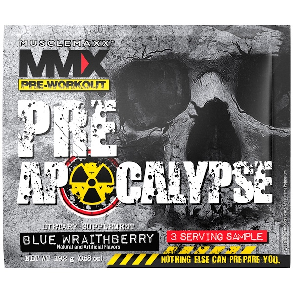 MuscleMaxx, PRE APOCALYPSE, Pre-Workout, Arginine + Taurine + Creatine + Beta-Alanine, Blue Wraithberry, 3 Serving Sample (0.68 oz) (19.2 g)