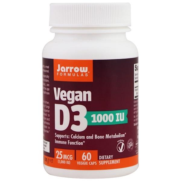 Jarrow Formulas, Vegan D3 , 1000 IU, 60 Veggie Caps