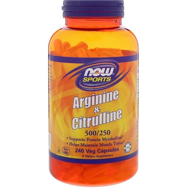 Now Foods, Arginine & Citrulline, 500/250 mg, 240 Veg Capsules