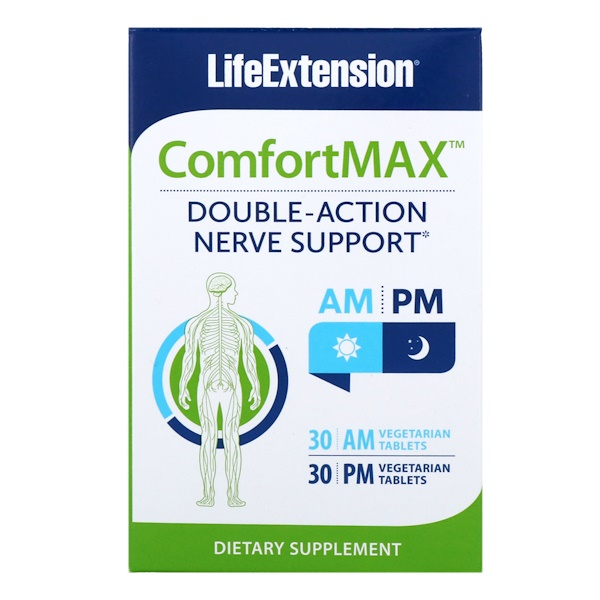 Life Extension, ComfortMax, DoubleAction Nerve Support, For AM & PM, 30 Vegetarian Tablets Each