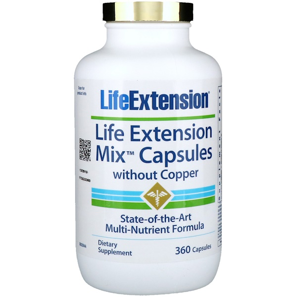 Life Extension, Mix Capsules without Copper, 360 Capsules