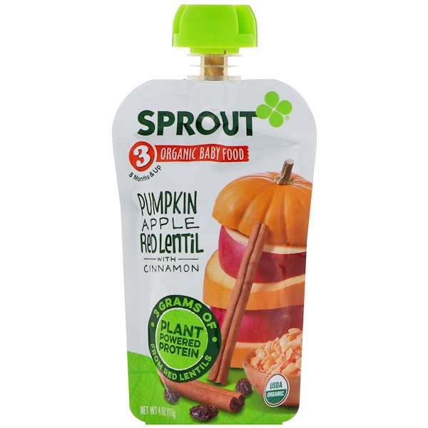 Sprout Organic, Baby Food, Stage 3, Pumpkin, Apple, Red Lentil With Cinnamon, 4 oz (113 g)