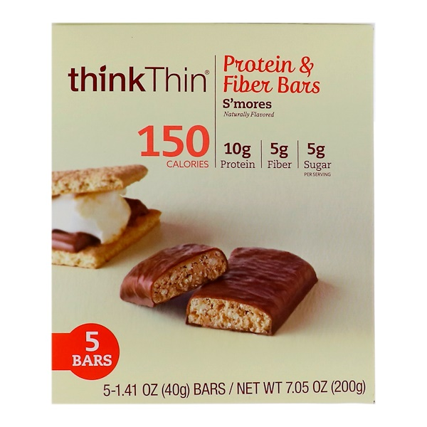 ThinkThin, Protein & Fiber Bar, Smore's, 5 Bars, 1.41 oz (40 g) Each
