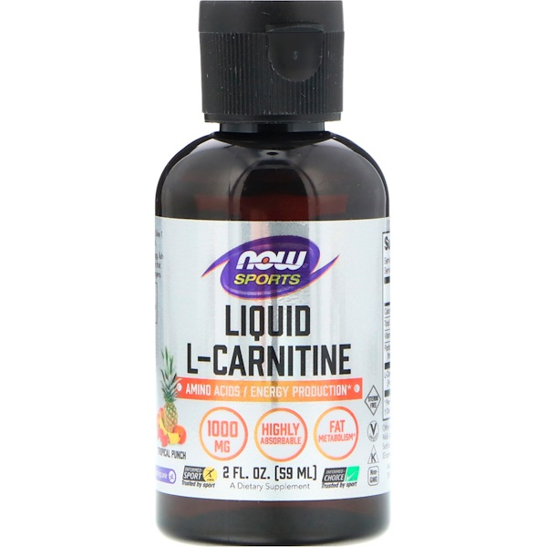 Now Foods, Liquid L-Carnitine, Tropical Punch, 1000 mg, 2 fl oz (59 ml)