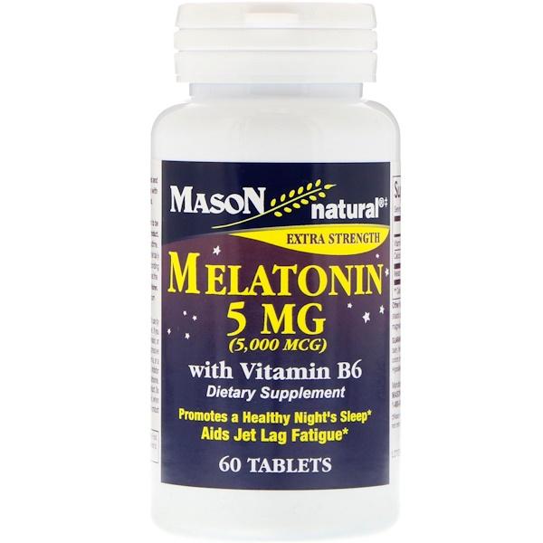 Mason Natural, Melatonin, 5 mg, 60 Tablets