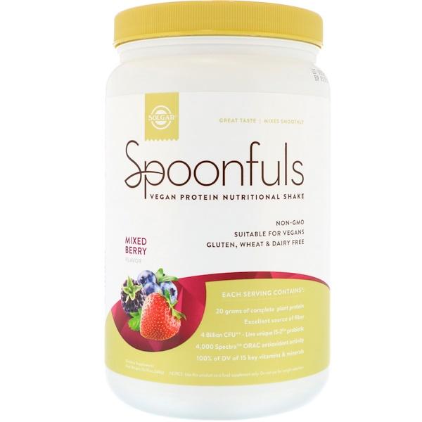 Solgar, Spoonfuls, Vegan Protein Nutritional Shake, Mixed Berry, 20.74 oz (588 g)