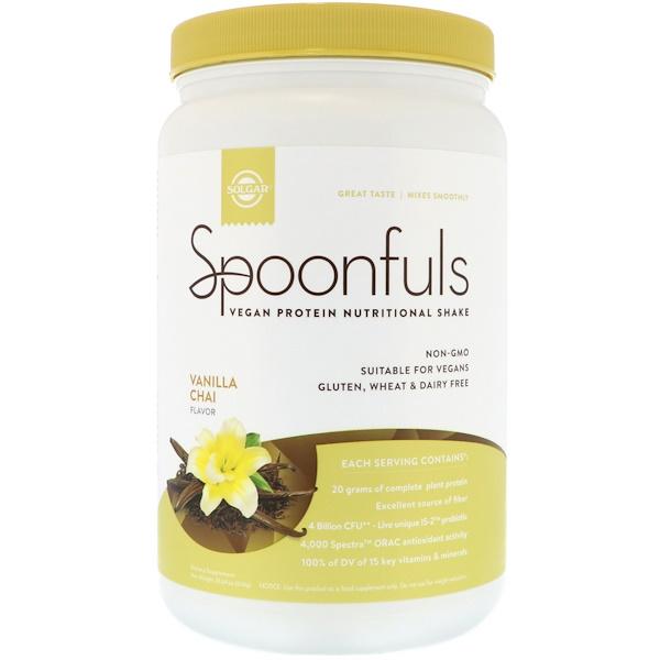 Solgar, Spoonfuls, Vegan Protein Nutritional Shake, Vanilla Chai, 20.24 oz (574 g)