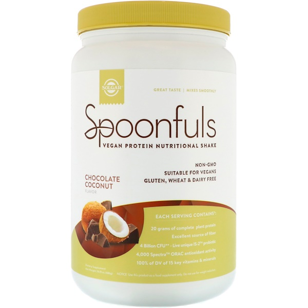 Solgar, Spoonfuls, Vegan Protein Nutritional Shake, Chocolate Coconut, 24.19 oz (686 g)