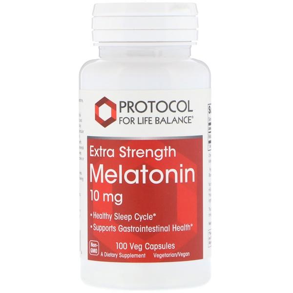 Protocol for Life Balance, Melatonin, Extra Strength, 10 mg, 100 Veg Capsules