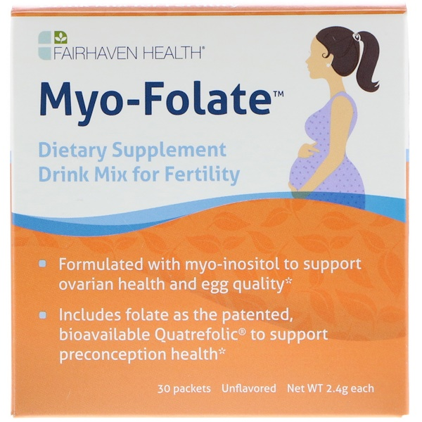 Fairhaven Health, Myo-Folate, A Drinkable Fertility Supplement, Unflavored, 30 Packets, 2.4 g Each