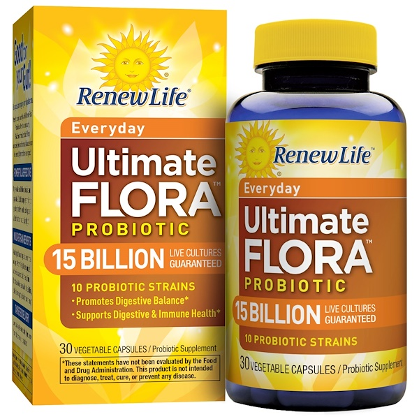 Renew Life, Ultimate Flora Probiotic, Everyday, 15 Billion, 30 Veggie Caps