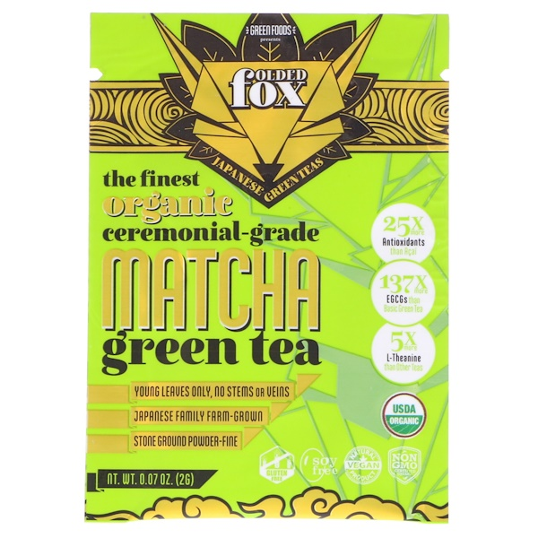 Green Foods Corporation, Folded Fox, Organic Matcha Green Tea, 0.07 oz (2 g)