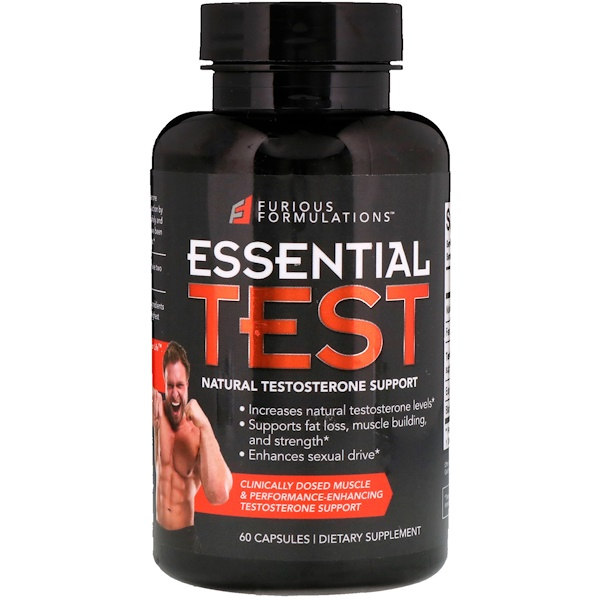 FURIOUS FORMULATIONS, Essential Test, Natural Testosterone Support, 60 Capsules