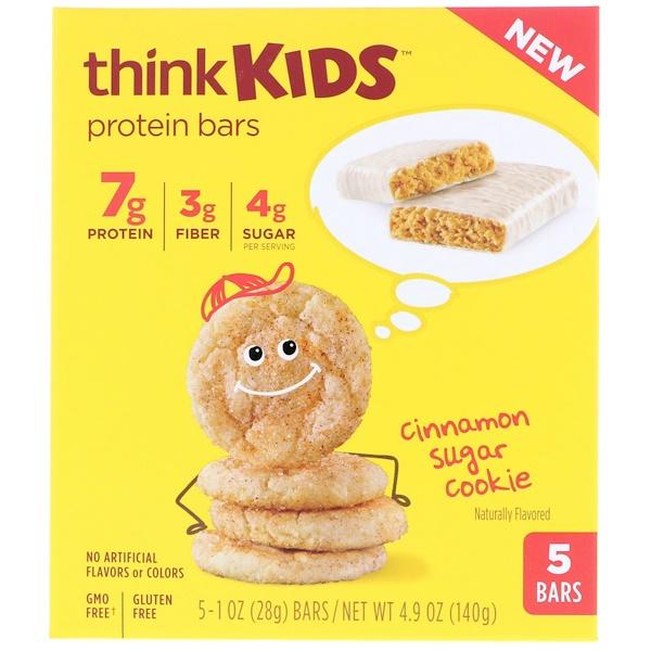 ThinkThin, ThinkKids, Protein Bars, Cinnamon Sugar Cookie, 5 Bars, 1 oz (28 g) Each