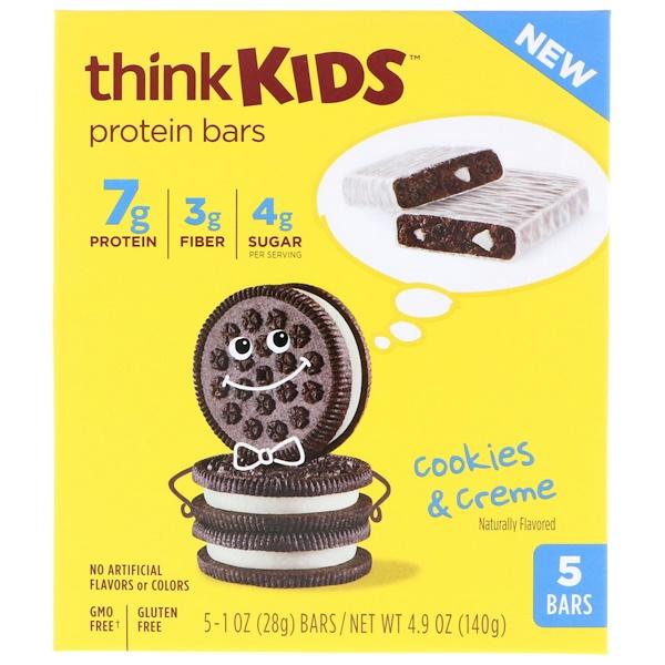 ThinkThin, ThinkKids, Protein Bars, Cookies & Creme, 5 Bars, 1 oz (28 g) Each