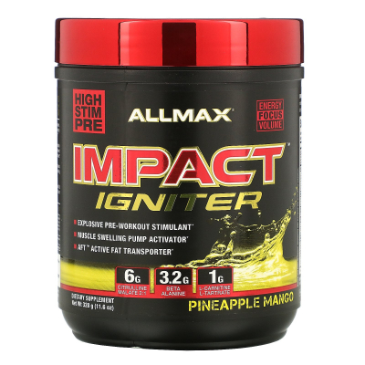 ALLMAX Nutrition, IMPACT Igniter, Pre-Workout, Citrulline Malate + Beta-Alanine + NAC, Pineapple Mango, 11.6 oz (328 g)