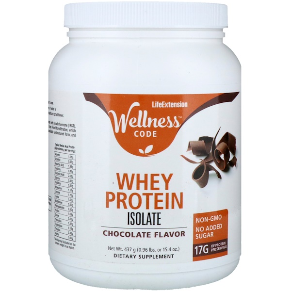 Life Extension, Wellness Code, Whey Protein Isolate, Chocolate Flavor, 0.96 lb (437 g)