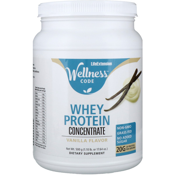 Life Extension, Wellness Code, Whey Protein Concentrate, Vanilla Flavor, 17.64 oz (500 g)