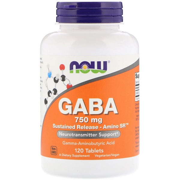 Now Foods, GABA, 750 mg, 120 Tablets