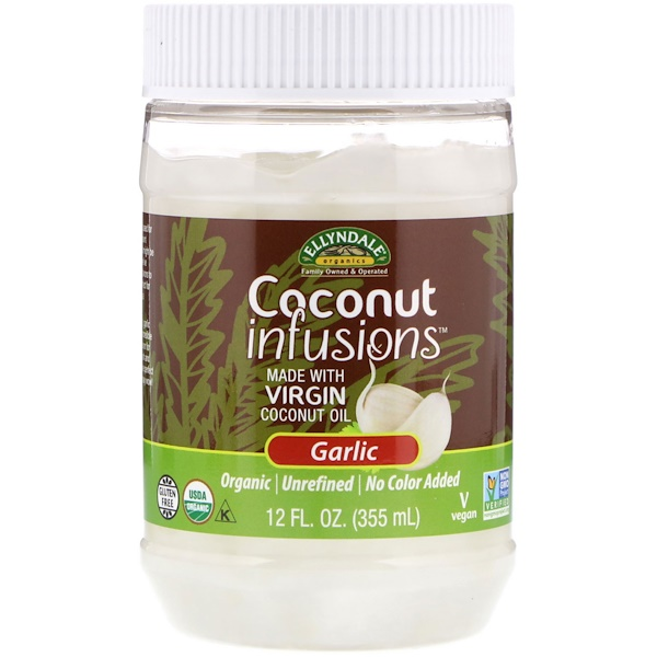 Now Foods, Ellyndale Naturals, Coconut Infusions, Garlic Flavor, 12 fl oz (355 ml)