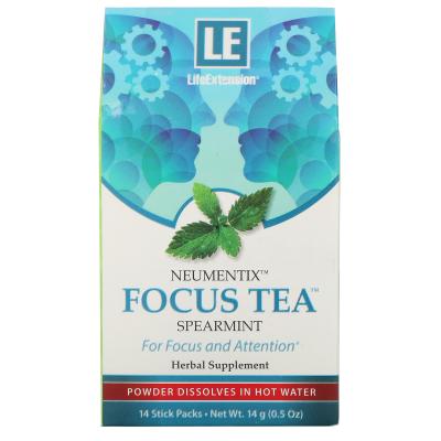 Life Extension, Neumentix, Focus Tea, Spearmint, 14 Stick Packs, 0.5 oz (14 g)