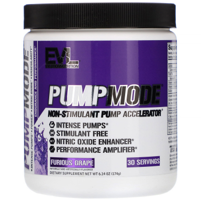 EVLution Nutrition, PumpMode, Non-Stimulant Pump Accelerator, Furious Grape, 5.3 oz (150 g)