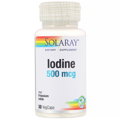 Solaray, Iodine as Potassium Iodide, 500 mcg, 30 Vegetarian Capsules