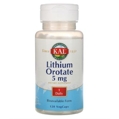 KAL, Lithium Orotate, 5 mg, 120 VegCaps