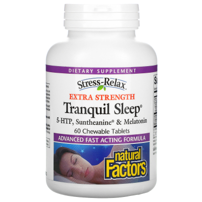 Natural Factors, Stress-Relax, Extra Strength Tranquil Sleep, 60 Chewable Tablets