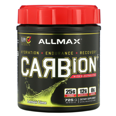 ALLMAX Nutrition, CARBion+ with Electrolytes, Lemon Lime, 1.91 lbs (870 g)