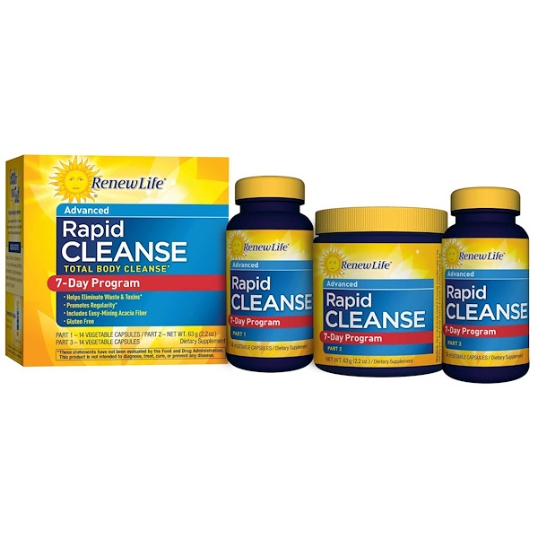 Renew Life, Total Body Rapid Cleanse, Complete 7-Day Internal Cleanse, 3-Part Program