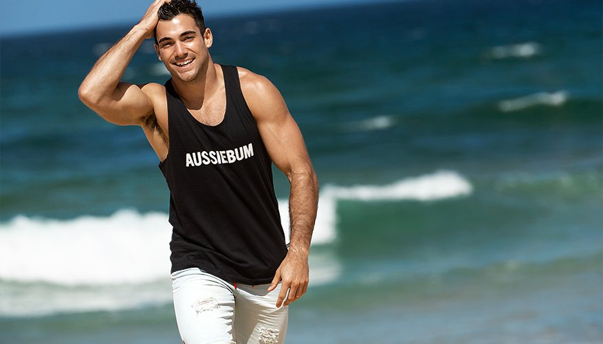 aussieBum Clothing, Classic Workout, Black Singlet