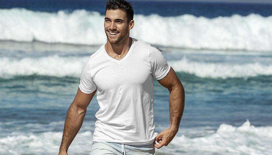 aussieBum Clothing, Pima Cotton V Neck, White Tshirt