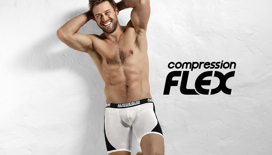 aussieBum Underwear, Compression Flex, Black Trunk