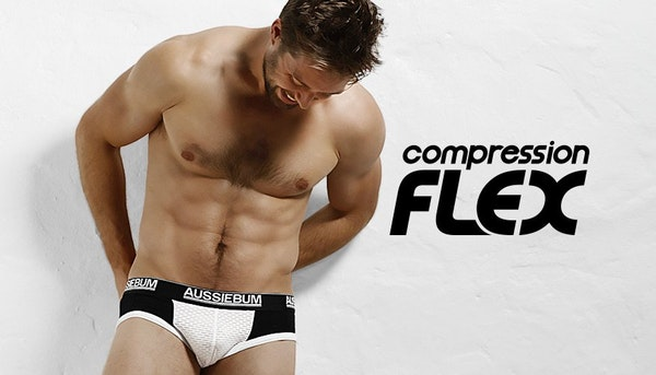 aussieBum Underwear, Compression Flex, Black Brief