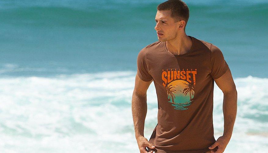 aussieBum Clothing, Designer Tee, Sunset Orange Tshirt