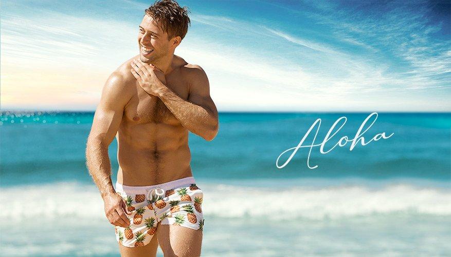 aussieBum Swimwear, Aloha, Pineapple White Short