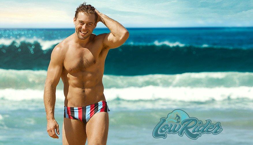 aussieBum Swimwear, Lowrider Stripes, Black Brief