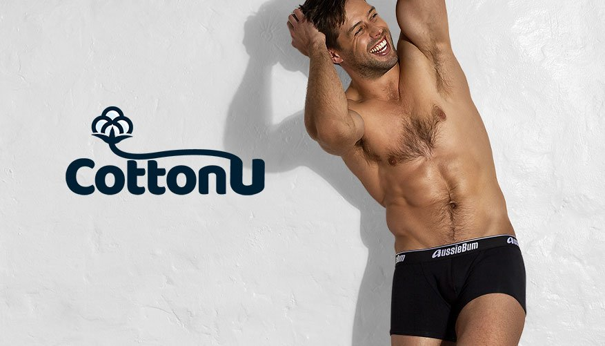 aussieBum Underwear, Cotton U, Black Trunk