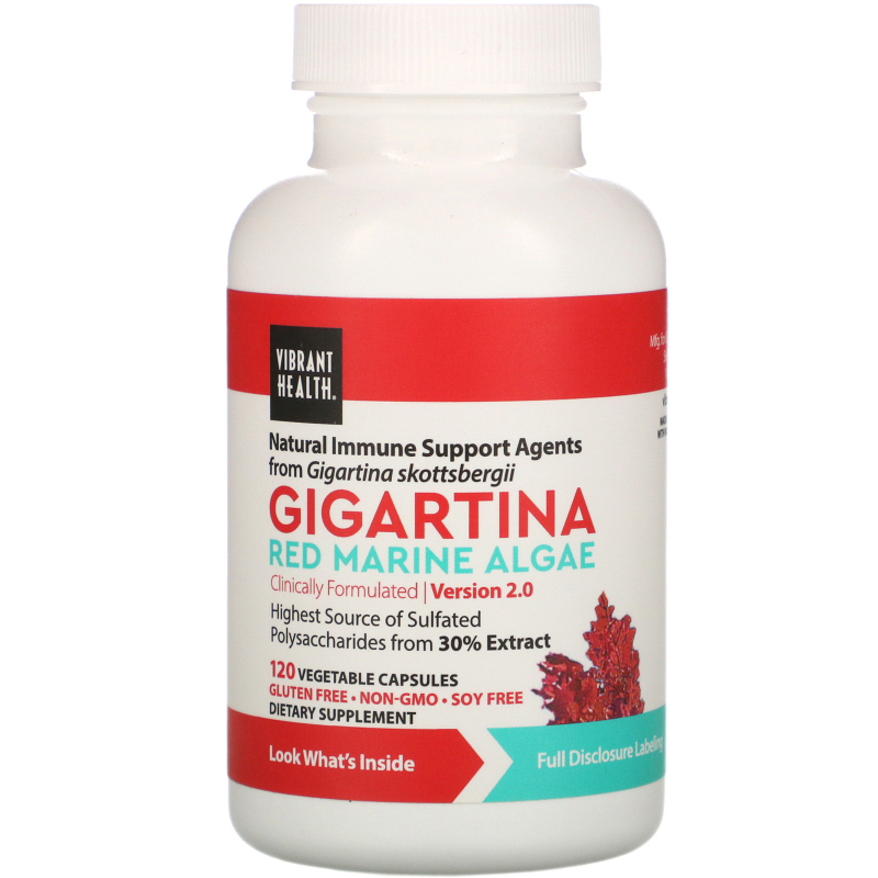 Vibrant Health, Gigartina, Red Marine Algae, Version 2.0, 120 Vegetable Capsules