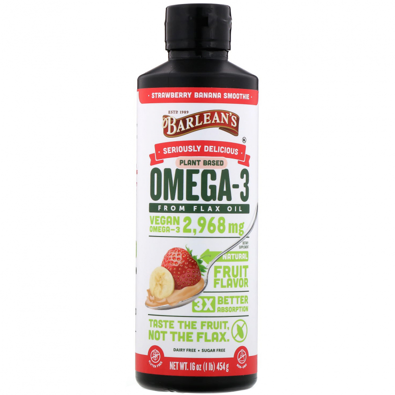 Barlean's, Omega Swirl, Flax Oil, Strawberry Banana, 16 oz (454 g)