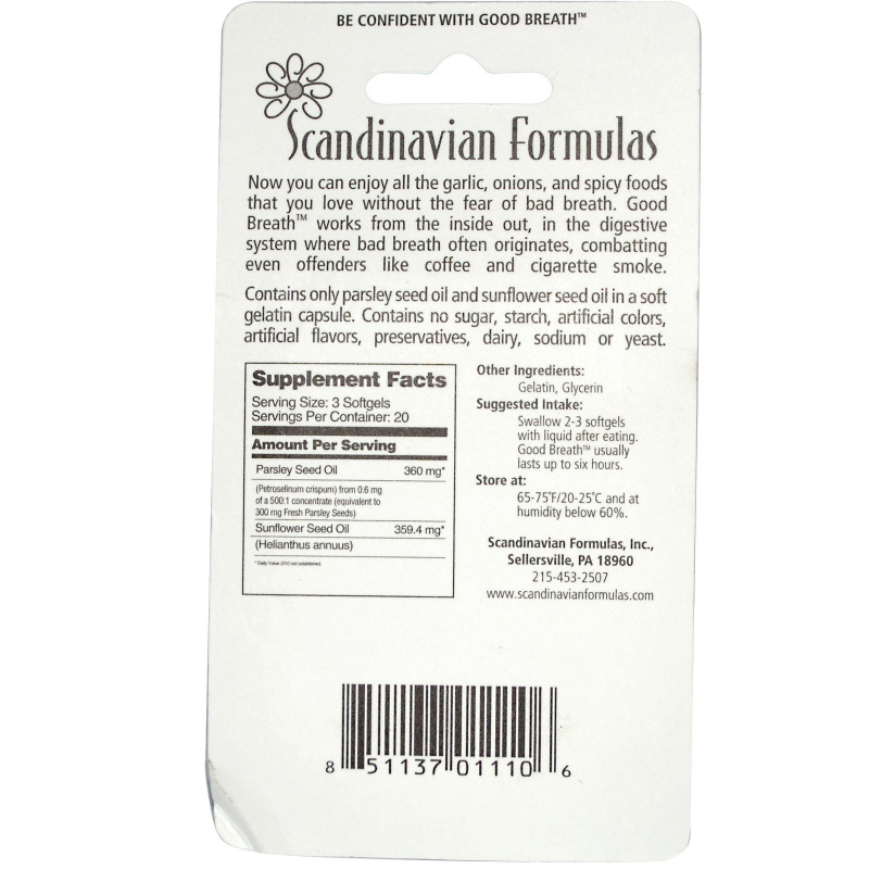 Scandinavian Formulas, Good Breath, 60 Softgels