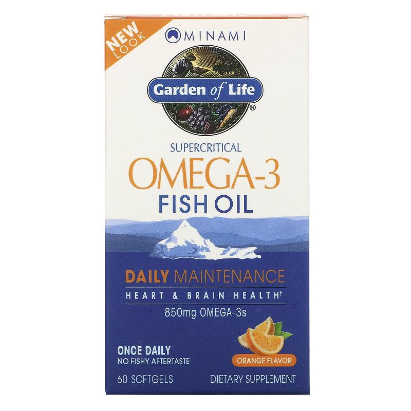 Minami Nutrition, Supercritical, Omega-3 Fish Oil, 850 mg, Orange Flavor, 60 Softgels