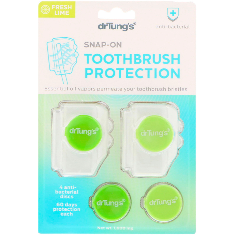 Dr. Tung's, Snap-On Toothbrush Protection, Fresh Lime, 1,600 mg