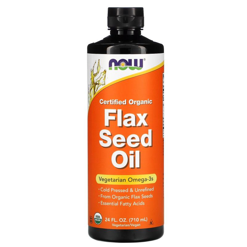 Now Foods, Certified Organic Flax Seed Oil, 24 fl oz (710 ml)