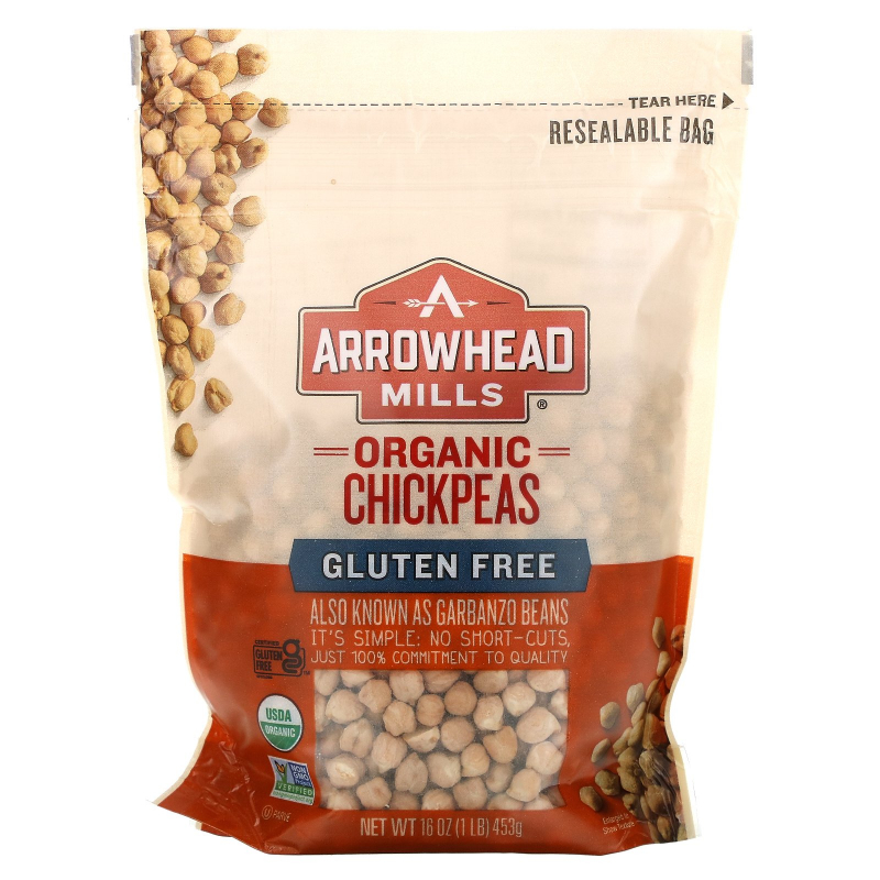 Arrowhead Mills, Organic Chickpeas (Garbanzos), 16 oz (453 g)
