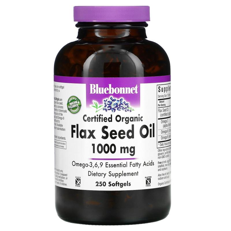 Bluebonnet Nutrition, Flax Seed Oil, Certified Organic, 1000 mg, 250 Softgels