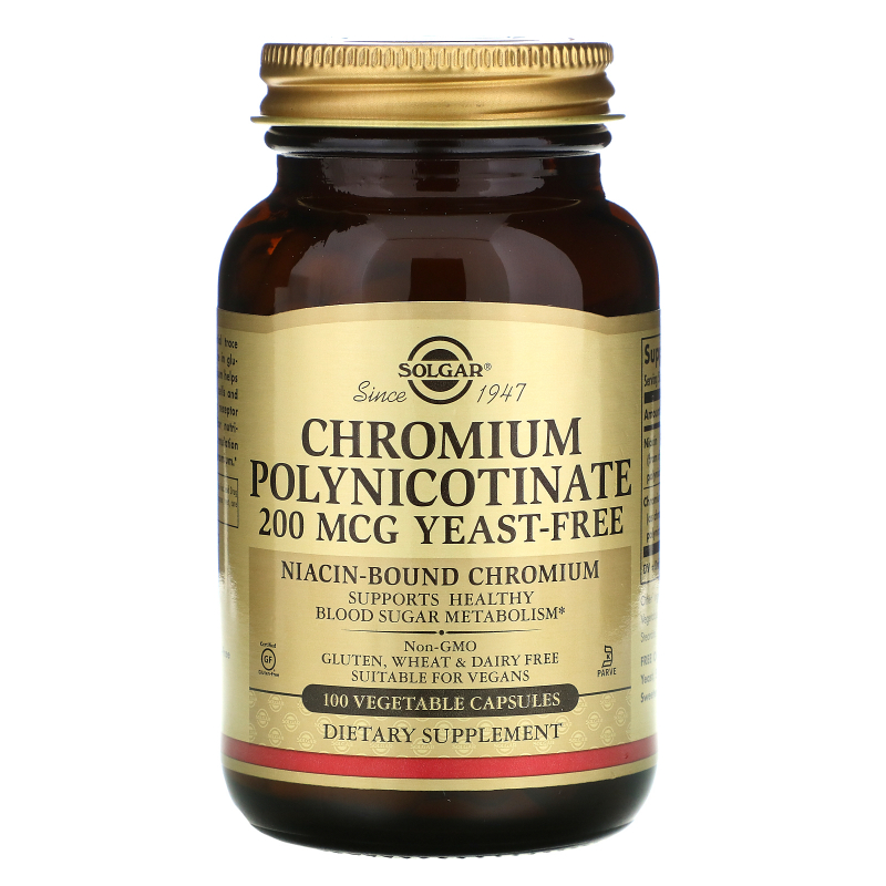 Solgar, Chromium Polynicotinate, 200 mcg, 100 Vegetable Capsules